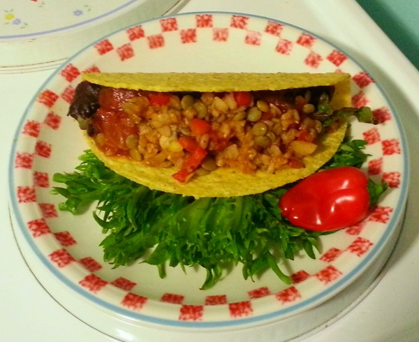 vegan brown rice and lentil taco filling
