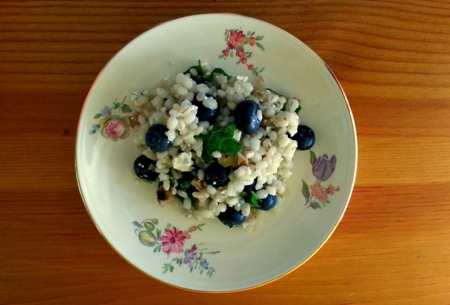 Bee's knees salad - Features barley, blueberries, blue cheese and basil