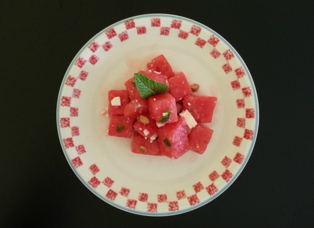 sweet and salty watermelon salad