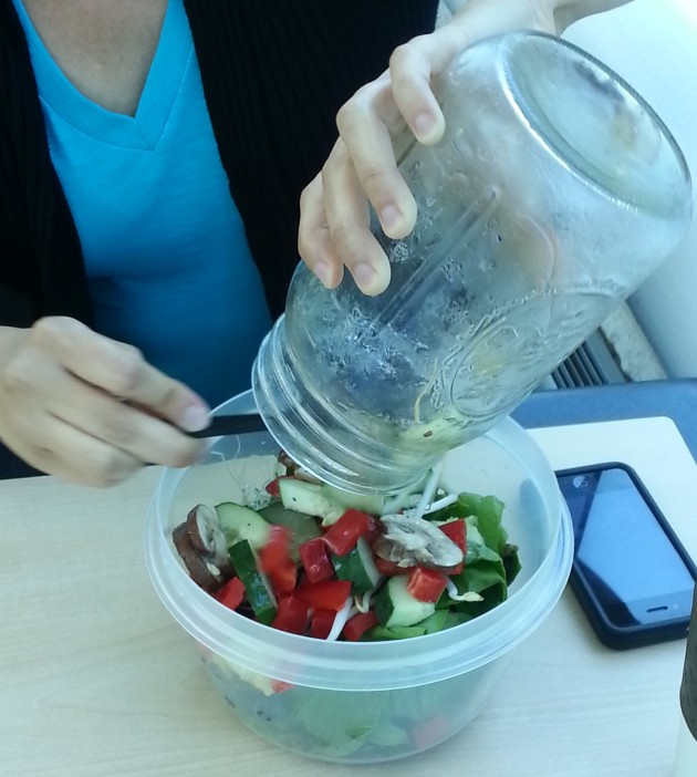 Eating salad in a jar